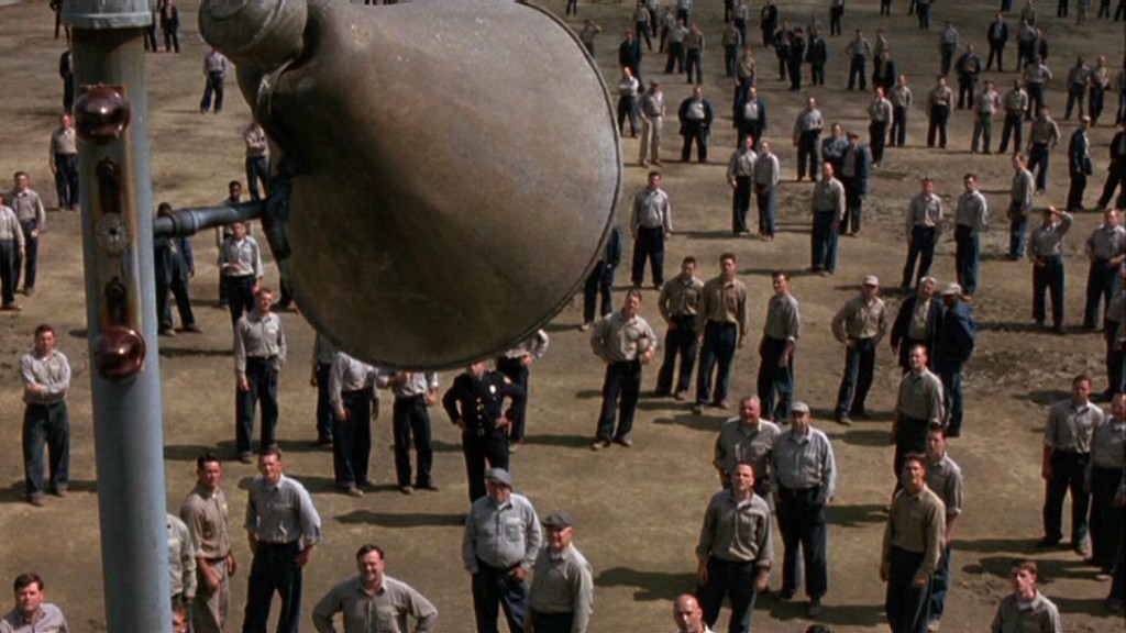 The Shawshank Redemption movie scenes Of course they all stand still and quiet when the aria rises above them in what has to be the film s most condescending scene See how all these murderous